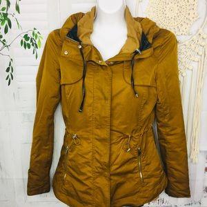Zara Basic Cognac Brown Hood Zip Utility Jacket XS